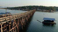 A nice genuine Mon village (Wang Kha) accessed via the bamboo bridge
