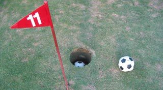 Fun-filled hours kicking a football around an 18-hole golf course