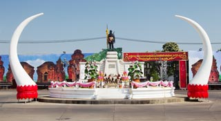 Elephant-oriented, mid-sized town with nearby craft villages & Khmer ruins