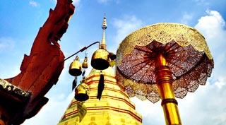 A glorious temple, which looks down on Chiang Mai City from the mountaintop